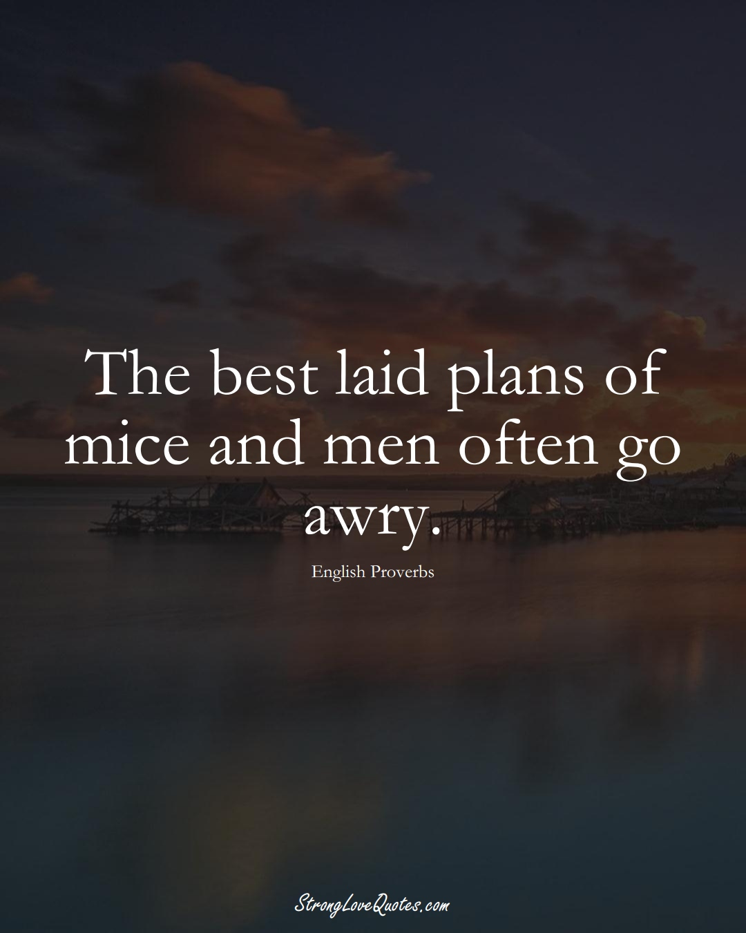 The best laid plans of mice and men often go awry. (English Sayings);  #EuropeanSayings