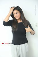 Telugu Actress Mishti Chakraborty Latest Pos in Black Top at Smile Pictures Production No 1 Movie Opening  0009.JPG