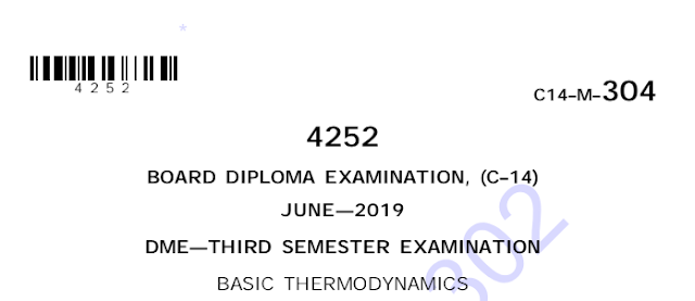 Polytechnic Basic thermodynamics old model question papers june 2019