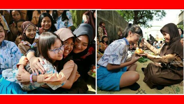Abaikan Fatwa MUI, Siswa SDN 01 Nambangan Lor Ucapkan Selamat Natal & Bawa Tumpeng Ke SDK Santa Maria Kota Madiun Jatim