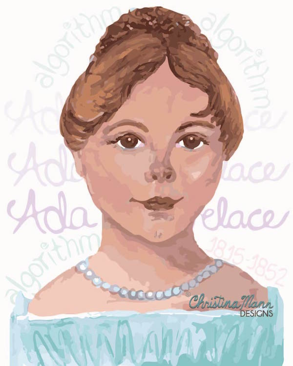 Ada Lovelace as a child. First computer programmer. | Art by Christina Mann Designs