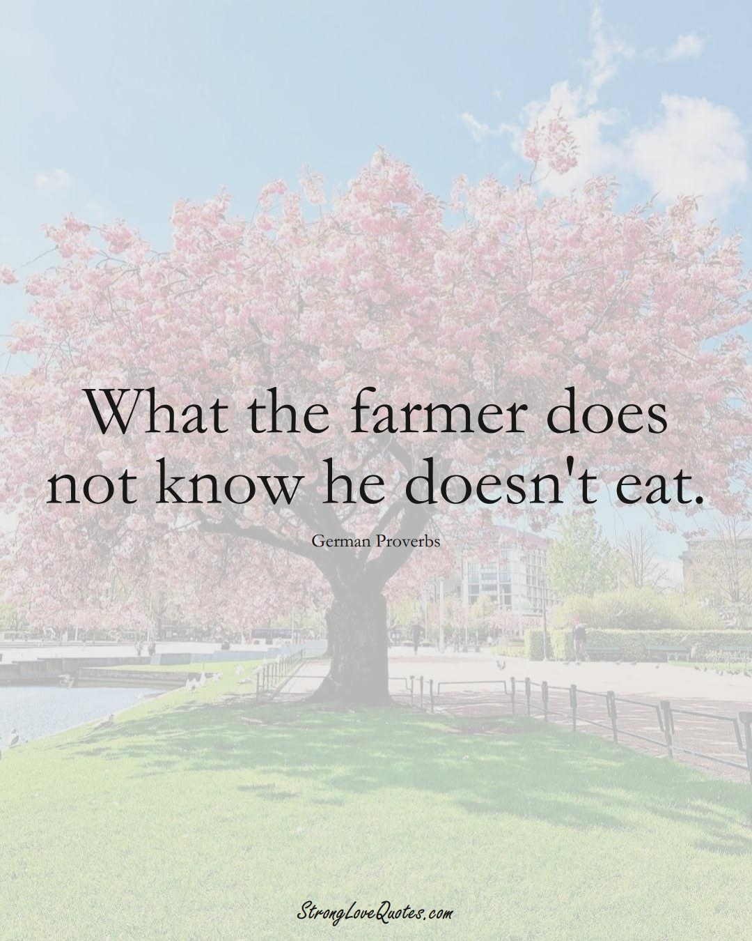 What the farmer does not know he doesn't eat. (German Sayings);  #EuropeanSayings