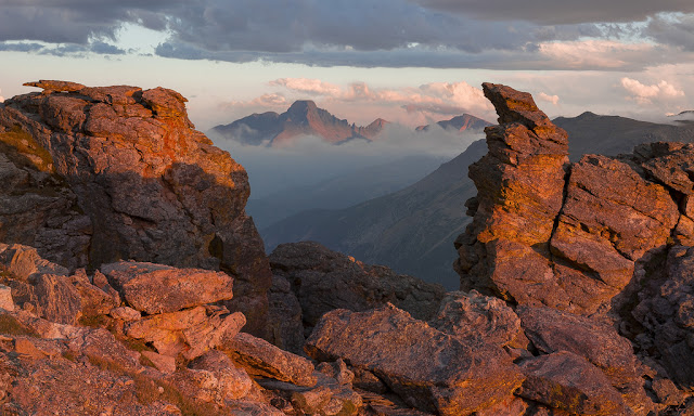 Longs Peak and clouds at sunset from Trail Ridge Road in Rocky Mountain Natioanl Park, Colorado.