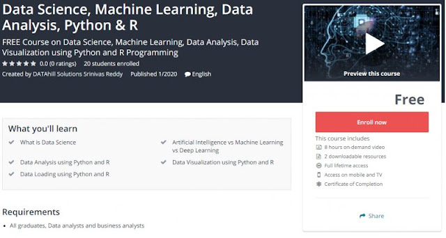[100% Free] Data Science, Machine Learning, Data Analysis, Python & R