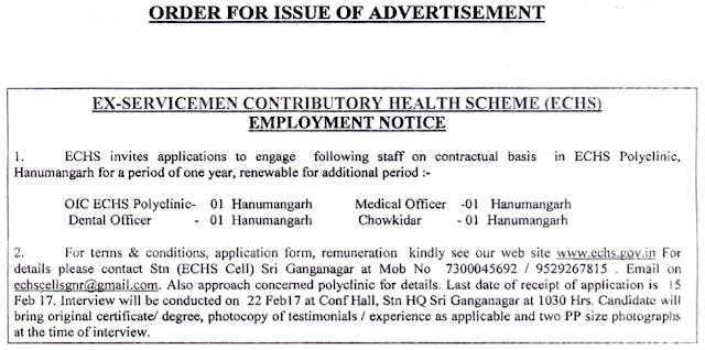 ECHS Recruitment 2017