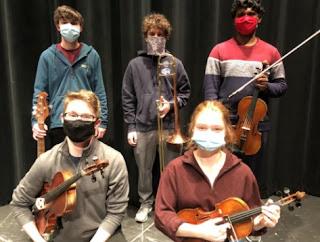 Left to Right: Ian Richardson - Bass, Colin Manocchio - Trombone, Chai Harsha - Viola, Christopher Broyles - Viola and Grace Newton - Violin