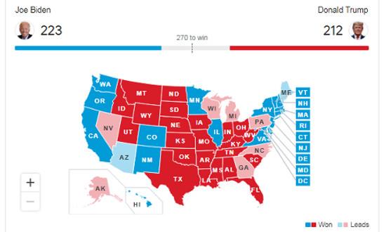 Pilpres AS: Perhitungan Sementara Sejumlah Media AS, Biden Unggul