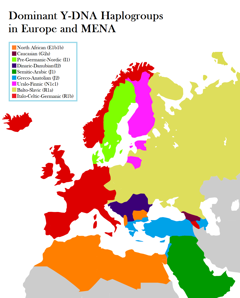 Dominant Y-DNA Haplogroups in Europe, Middle East & North Africa