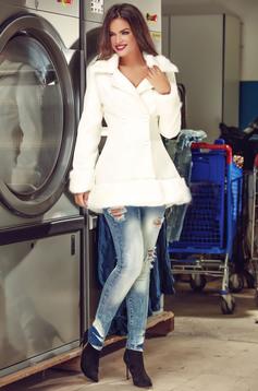 palton alb dama scurt