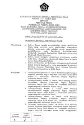 Juknis PPDB RA, MI, MTs, MA dan MAK Tahun Pelajaran 2020-2021