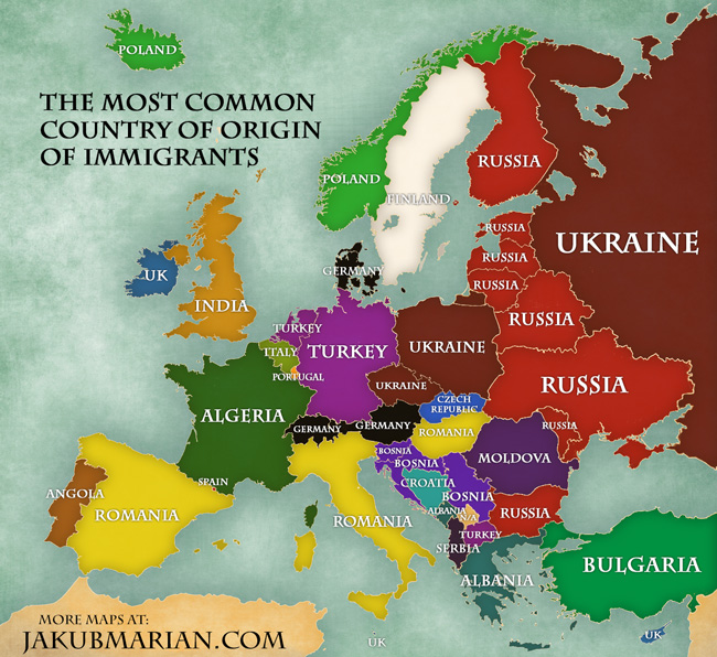 The most common country of origin of immigrants