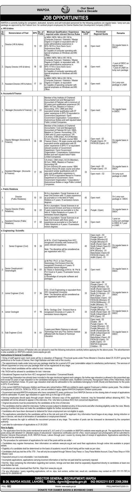 171 Positions of Water and Power Development Authority WAPDA Jobs 2020