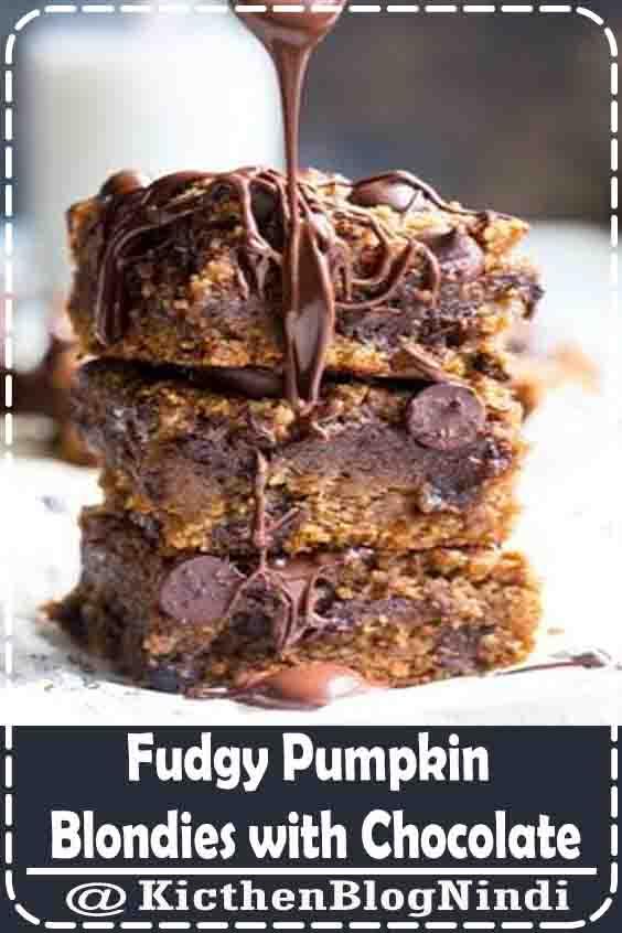 Fudgy Pumpkin Blondies with Chocolate
