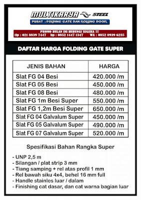 gambar untuk daftar harga foldinggate super bandung murah
