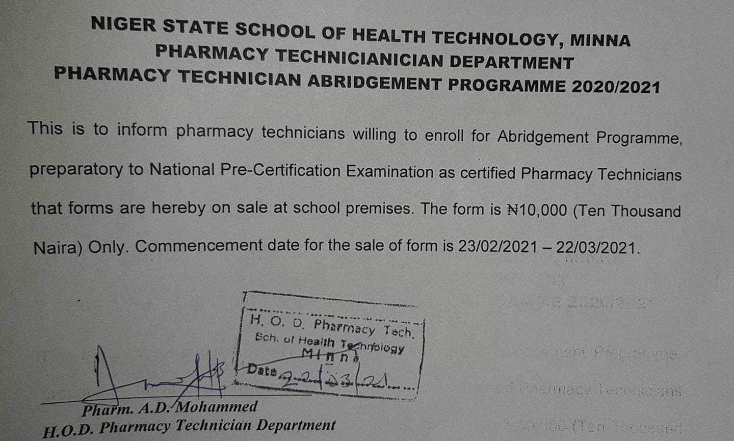 Niger State School of Health Tech Admission Form 2020/2021