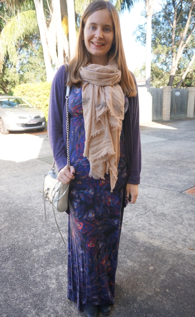 purple cardigan, ankle boots, pashmina and feather print maxi dress in winter | Away From Blue