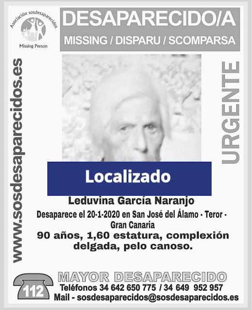 Ha sido localizada la mujer de 90 años desaparecida en Teror, Gran Canaria, Leduvina García