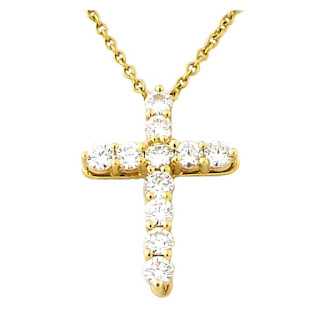 Tiffany and co yellow gold cross pendant and necklace