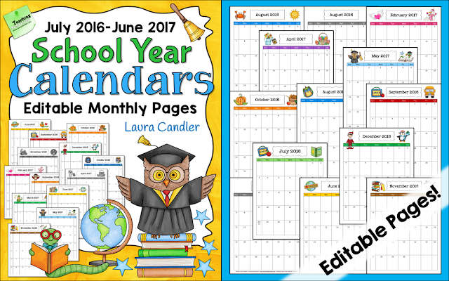 Corkboard Connections: Grab Your Free 2016-2017 School Year Calendar!