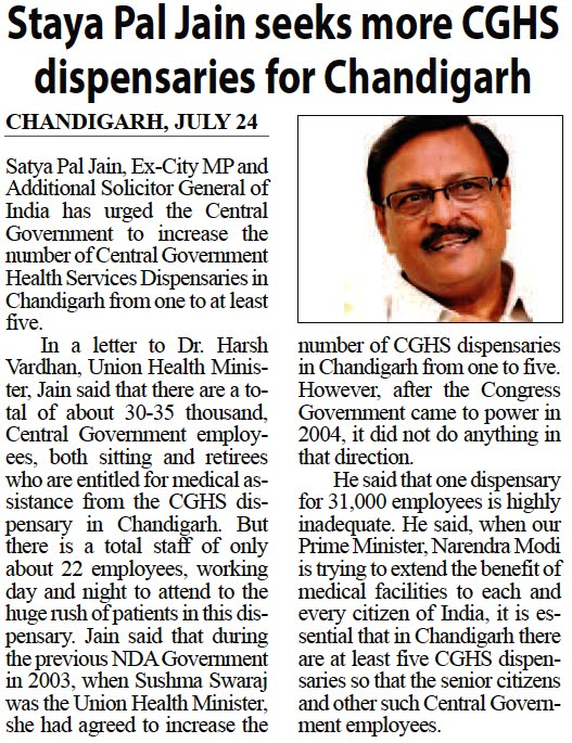 Satya Pal Jain seeks more CGHS dispensaries for Chandigarh
