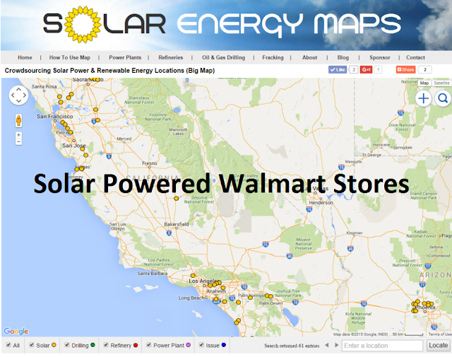 Map of solar powered Walmart Stores