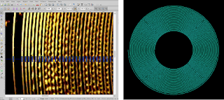 [Image: Screenshot of Inkscape with the above image loaded and markers drawn on the spiral groove wherever it crosses the pi radians mark. Next to it, a computer-generated spiral with similar spacings.]