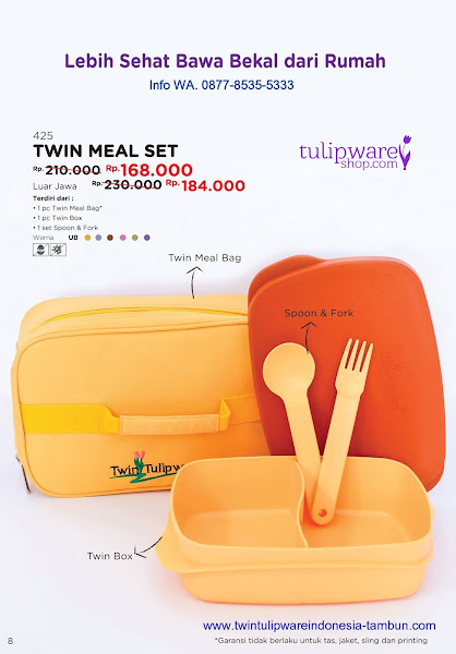 Promo Diskon Tulipware Mei 2018, Twin Meal Set