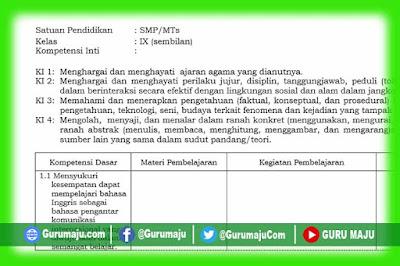 Silabus Bahasa Inggris Kelas 9 Kurikulum 2013 Revisi Terbaru