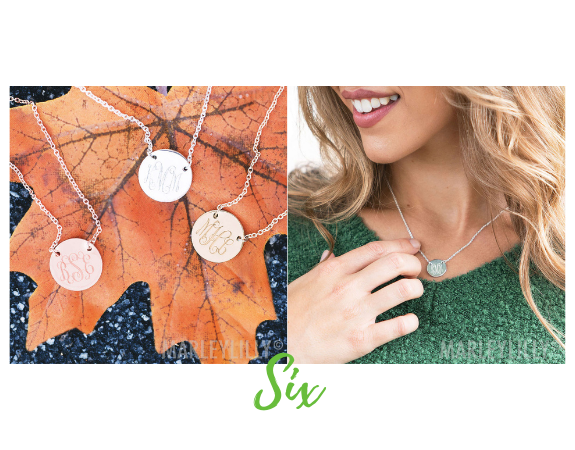 Monogrammed Delicate Disc Necklace from Marleylilly.com