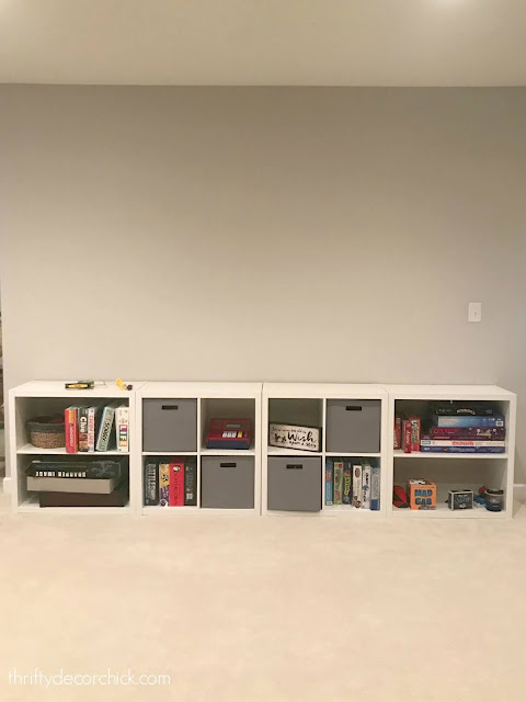 cubby wall with game storage