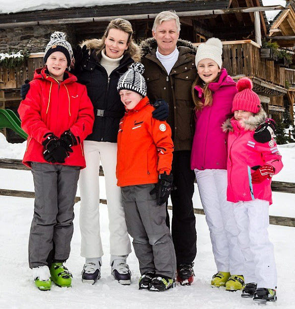 King Philippe of Belgium, Queen Mathilde of Belgium and their children Prince Gabriel, Prince Emmanuel, Princess Elisabeth and Princess Eleonore of Belgium