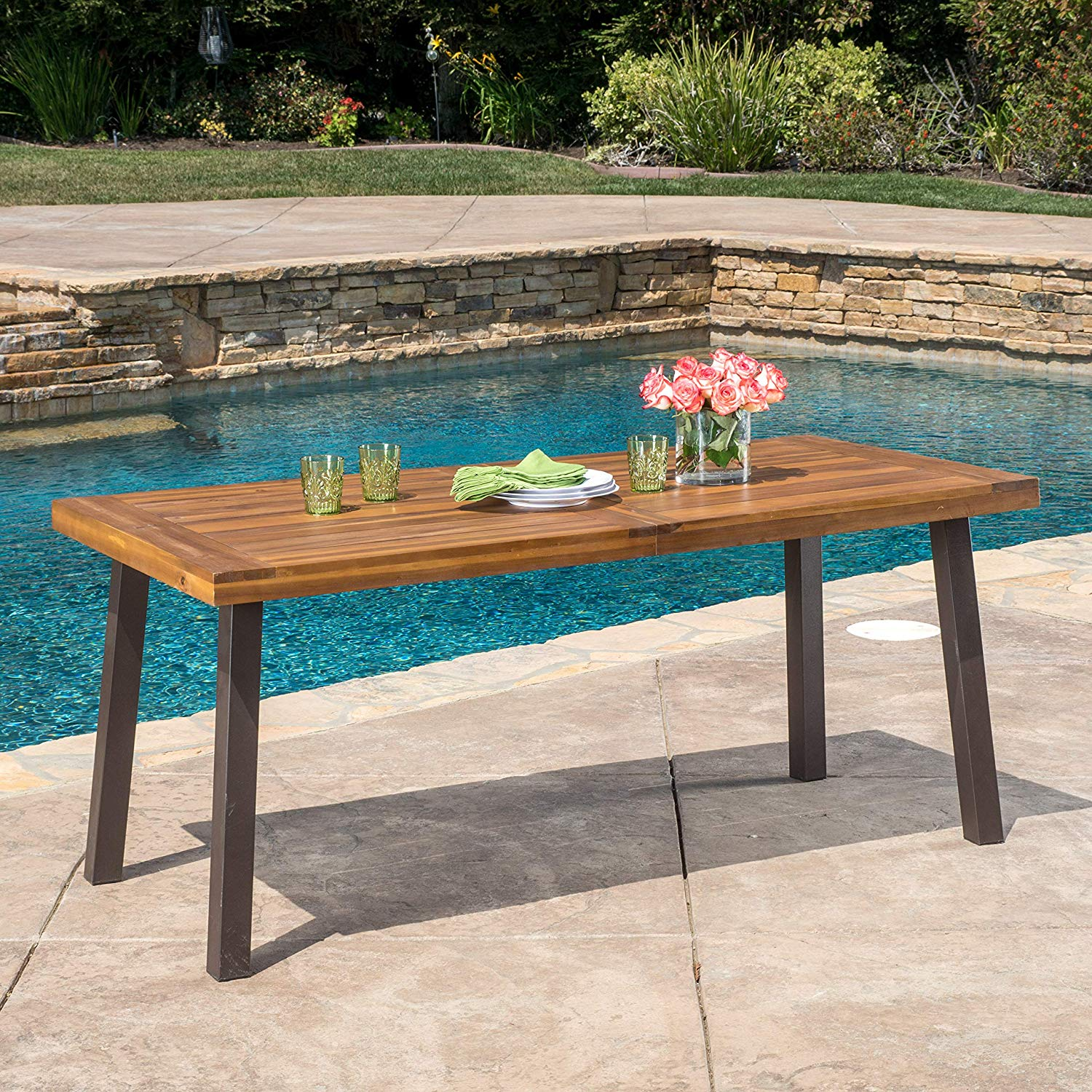 Wood outdoor table metal legs