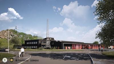 Illustration med den nya brandstationen placerad i sin miljö.