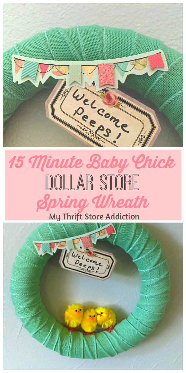 15 minute baby chick dollar store spring wreath