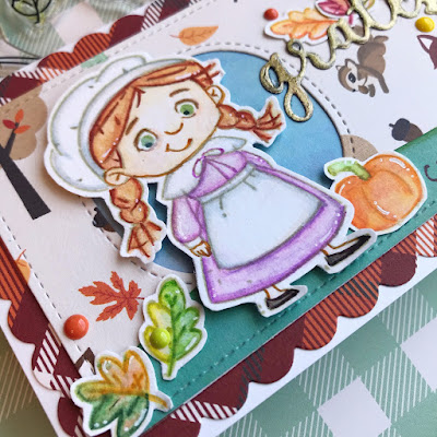 Kraftin' Kimmie Stamps, New Release, Thanksgiving, It's Turkey Day, Watercolor Pencils, Zig Clean Colour Real Brush Markers, slimline, fall, cardmaking