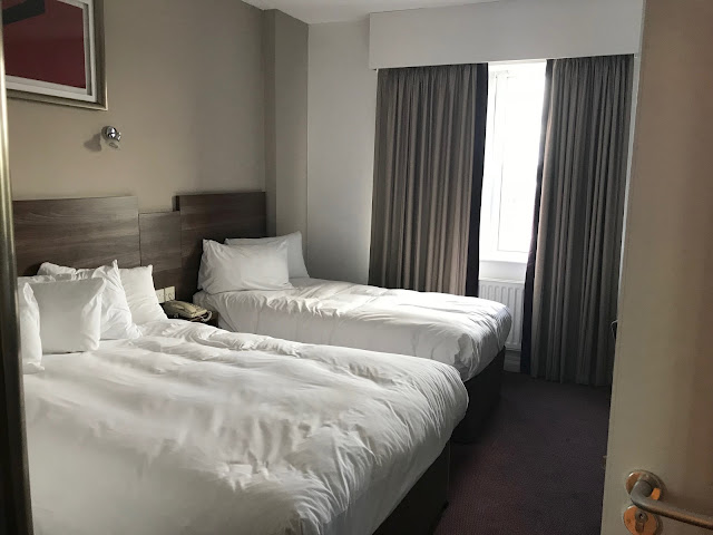 Jurys Inn hotel room double and single bed in bedroom