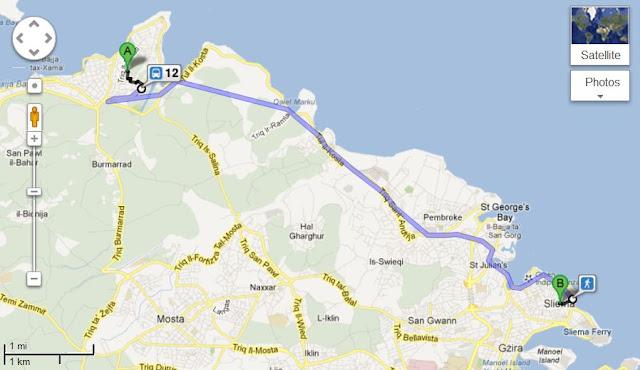 Trasa od Bugibby doSliemy - Malta