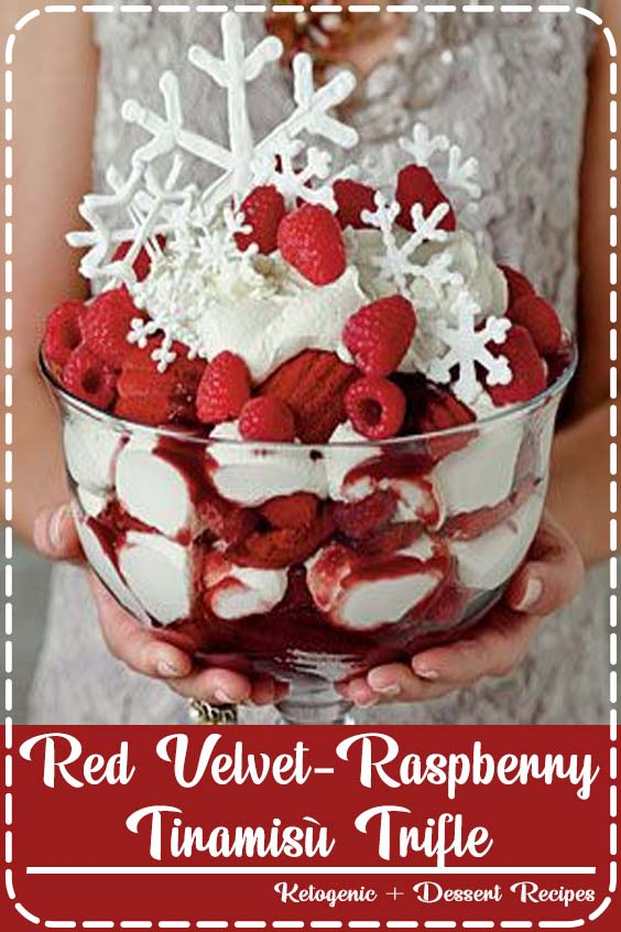 Also if you want to make the snowflake garnishes just trace snowflake templates onto wax  Red Velvet-Raspberry Tiramisù Trifle