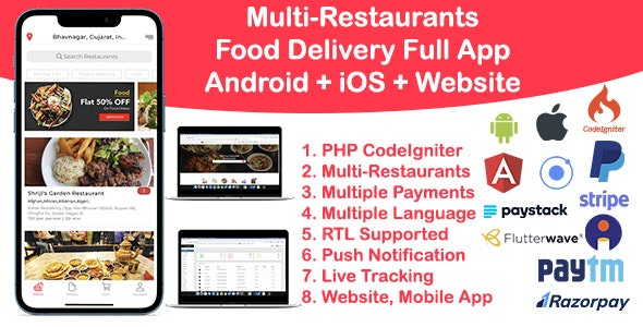 Food Delivery Multi Restaurant Ionic 5 + CodeIgniter (Android + iOS + Site + Admin) v1.0 Download Grátis