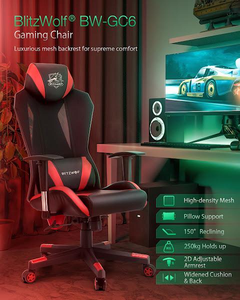 Cadeira gaming BlitzWolf BW-GC6 com material de alta qualidade