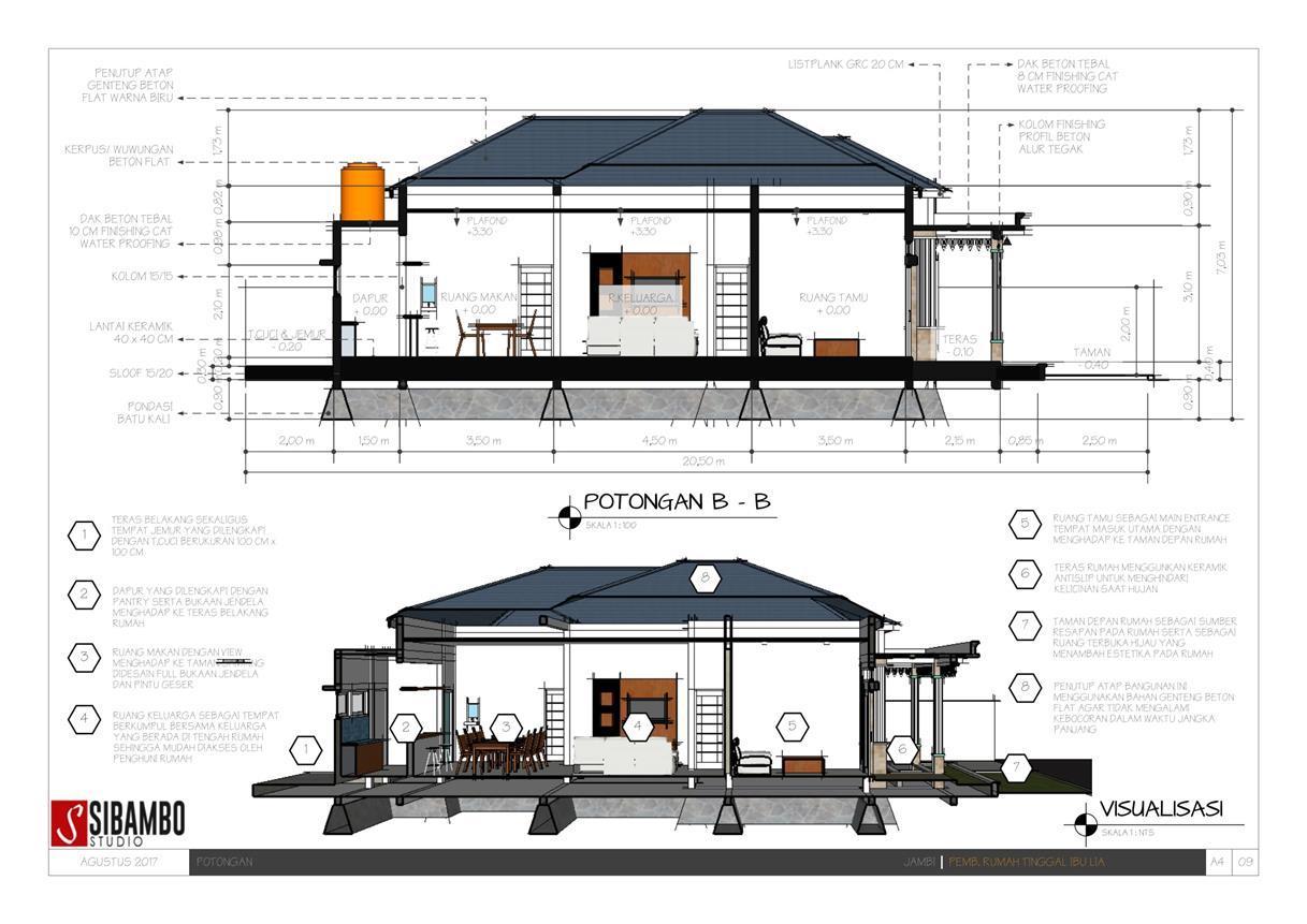 Desain Rumah Sederhana Bernuansa Etnik Jambi Di Lahan 10 X 205 Meter