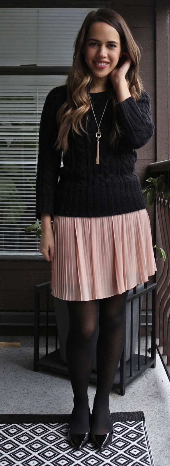 Jules in Flats - Forever 21 Pink Pleated Skirt, Joe Fresh Cable Knit Sweater