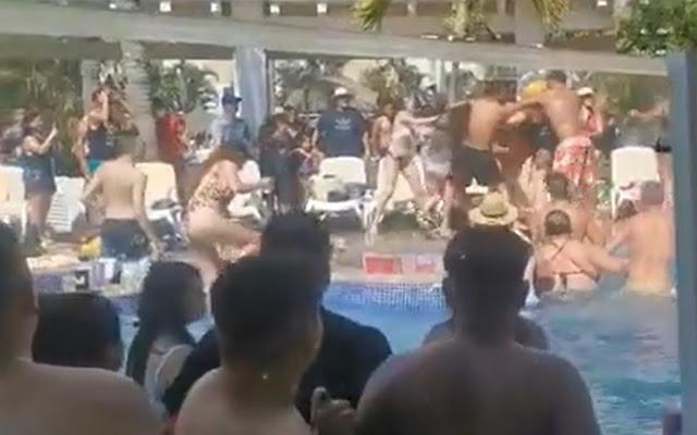 VIRAL: Entre golpes y empujones, turistas arman pelea campal en hotel de Mazatlán