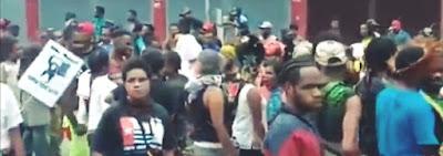 Riot in Jayapura, Papua Province, Indonesia