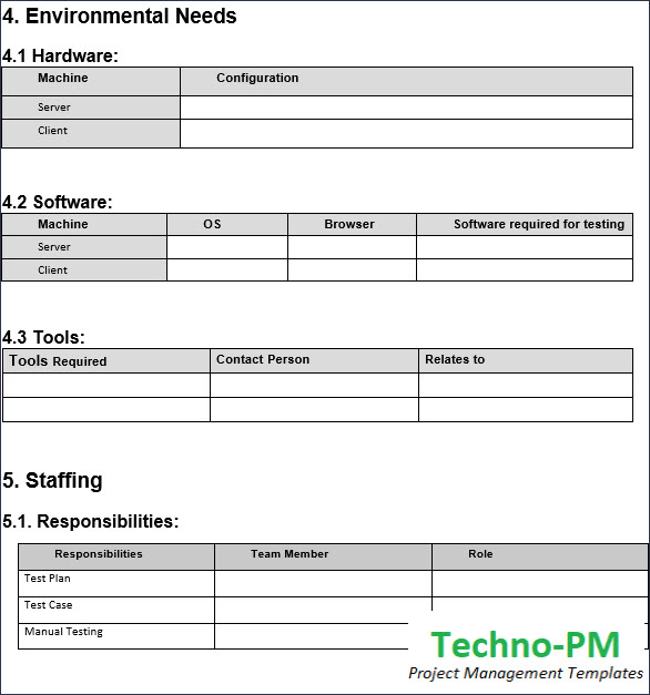 Matrix for Software, Hardware, Staffing and Training