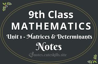 9th Class Maths Unit 1 - Matrices & Determinants Notes
