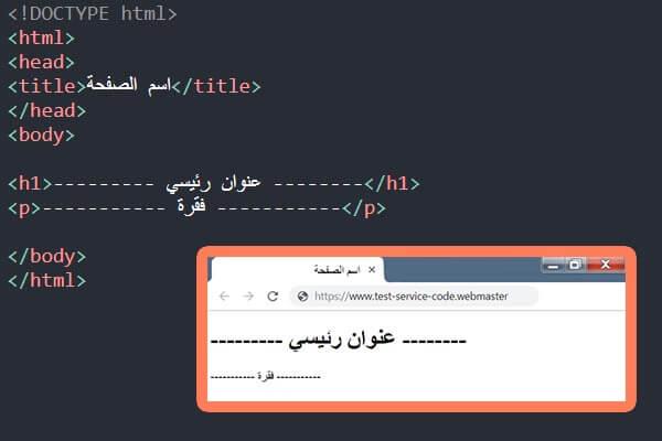 الكود الرئيسي و الأساسي للبدء في بناء أي صفحة بلغة html