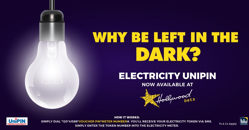 Electricity Unipin - Hollywoodbets - Why be left in the dark? - Blu Label - Vouchers