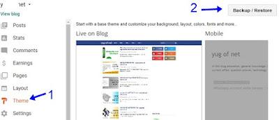 first theme par click kar backup restore par click kare