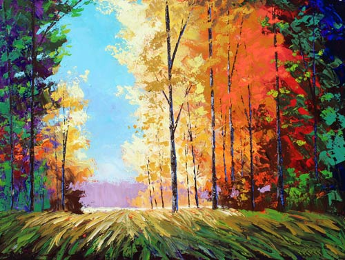 acrylic painting of trees with fall leaves very colorful